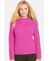 Lauren by Ralph Lauren | Pink Mock Neck Merino Sweater | Lyst