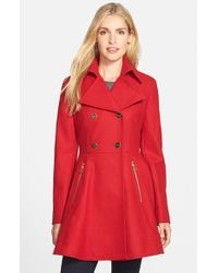 Laundry by Shelli Segal | Red Double Breasted Fit & Flare Coat | Lyst