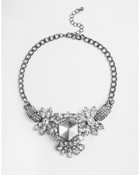 Girls On Film | Metallic Large Jewelled Statement Necklace | Lyst
