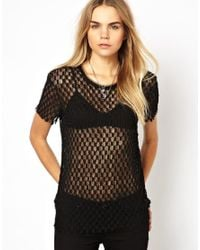 IRO | Black Knitted Lace Tshirt with Raw Edge and Lurex Collar | Lyst
