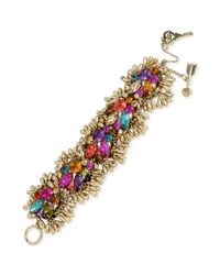 Betsey Johnson - Metallic Goldtone Colorful Crystal Cluster Toggle Bracelet - Lyst