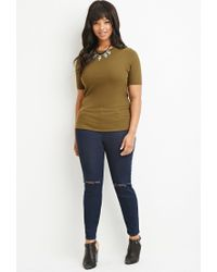 Forever 21 - Green Plus Size Classic Ribbed Top - Lyst