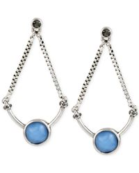 Kenneth Cole | Blue Silver-tone Round Stone Chandelier Earrings | Lyst