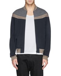 Kolor - Blue Contrast Panel Bomber Jacket for Men - Lyst