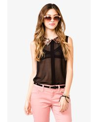 Forever 21 - Metallic Sequined Peter Pan Collar Shirt - Lyst