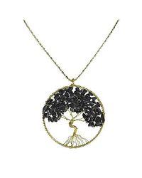 Aeravida - Metallic Black Onyx Stone Eternal Tree Of Life Brass Long Necklace - Lyst