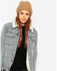 ASOS - Brown Fluffy Deep Turn Up Beanie - Lyst