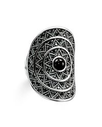 Thomas Sabo | Metallic Zig Zag Black Onyx Cocktail Ring | Lyst