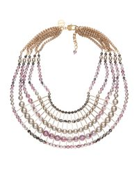 Nadia Minkoff | Metallic Statement Bib Necklace Lilac | Lyst