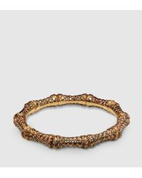 Gucci - Brown Diamond And Gold Bamboo Bracelet - Lyst