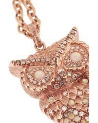 Carolina Bucci - Metallic 18karat Rose Gold Multistone Owl Necklace - Lyst