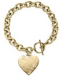 Michael Kors | Metallic Logo Heart Charm Toggle Bracelet | Lyst