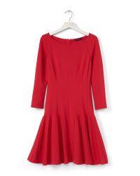 Banana Republic | Red Ponte Ruffle Dress | Lyst