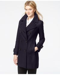 Anne Klein - Purple Plus Size Double-breasted Peacoat - Lyst