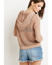 Forever 21 - Brown Open Knit Tassel Hoodie - Lyst