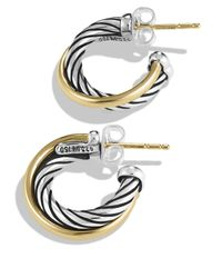 David Yurman - Metallic Crossover Extra Small Hoop Earrings With Gold - Lyst