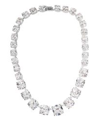 Kenneth Jay Lane | Metallic Rhodium-Plated Cubic Zirconia Necklace | Lyst