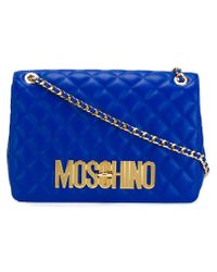 Moschino - Blue Quilted Crossbody Bag - Lyst