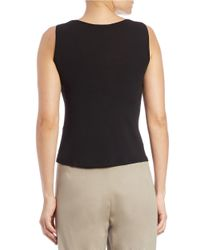 Eileen Fisher | Black Petite Stretch Silk Jersey Scoopneck Tank Top | Lyst