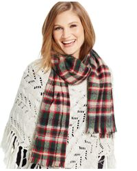 Polo Ralph Lauren | Green Lightly Frayed Plaid Scarf | Lyst