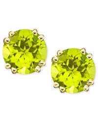 Macy's | Metallic 14k Gold Peridot Stud Earrings (4 Ct. T.w.) | Lyst