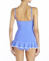 Gottex - Blue Tutti Frutti Bandeau Laser Cut Swimdress - Lyst