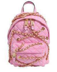Moschino | Pink Mini Chained Quilted Leather Backpack | Lyst