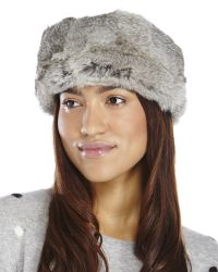 Surell - Gray Real Rabbit Fur Headband - Lyst