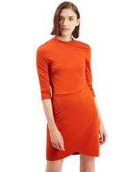 TOPSHOP | Orange Faux Wrap Body-con Dress | Lyst