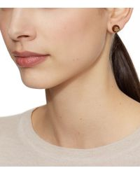 Tory Burch | Black Resin Logo Stud Earring | Lyst