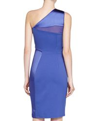 Halston | Blue One-shoulder Ponte Sheath Dress | Lyst