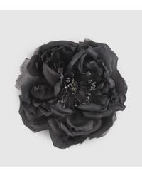 Gucci | Black Flower Pin In Silk And Cotton | Lyst