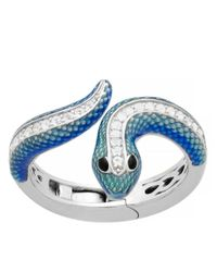 Lord & Taylor | Metallic Sterling Silver Enamel Snake Ring With White Topaz | Lyst