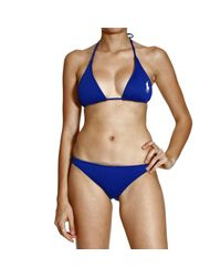 Ralph Lauren Blue Label | Blue Swimwear Bikini Triangle Large Pony | Lyst