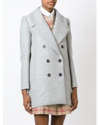 Carven - Gray Double Breasted Coat - Lyst