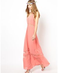 Jarlo - Orange Sienna Maxi Dress With Lace Hem Insert - Lyst
