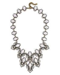 BaubleBar | Metallic 'deco Stone' Bib Necklace - Iridescent/ Antique Gold | Lyst
