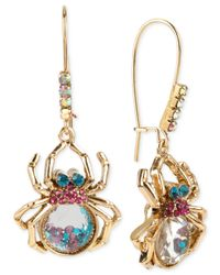 Betsey Johnson | Metallic Gold-tone Shaky Crystal Spider Long Drop Earrings | Lyst