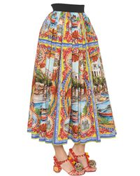 Dolce & Gabbana - Blue Mondello Printed Cotton Poplin Skirt - Lyst