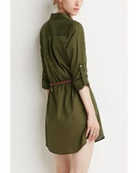 Forever 21 - Green Belted Shirt Dress - Lyst
