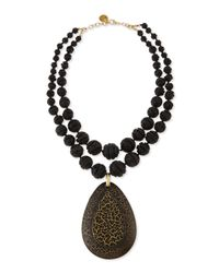 Devon Leigh | Black Double-strand Carved Lava Bead & Wood Pendant Necklace | Lyst