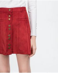 Zara | Red Miniskirt With Buttons | Lyst