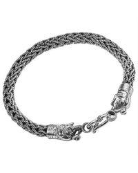 Aeravida - Metallic Two Headed Elephant Thai Yao Tribe Silver Handmade Bracelet - Lyst