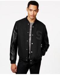 Sean John | Black Faux-leather Sleeve Varsity Jacket for Men | Lyst
