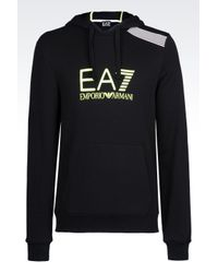 EA7 | Black 7colours Line Hooded Sweatshirt for Men | Lyst