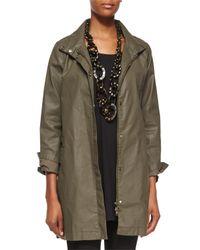 Eileen Fisher - Green Waxed Twill A-line Jacket - Lyst