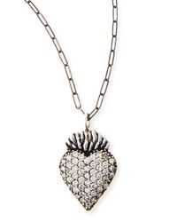 Katie Design Jewelry | Metallic Black Burning Heart Charm Necklace | Lyst