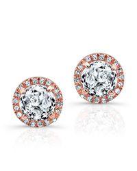 Anne Sisteron - Pink 14kt Rose Gold White Topaz Diamond Stud Earrings - Lyst
