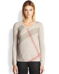 Burberry Brit - Natural Merino Wool & Cashmere Check Sweater - Lyst