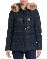 Pendleton | Green Coyote Fur-trimmed Toggle Coat | Lyst